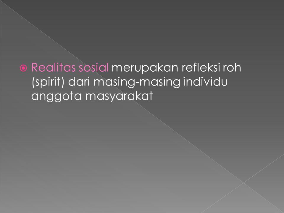  Realitas sosial merupakan refleksi roh (spirit) dari masing-masing individu anggota masyarakat