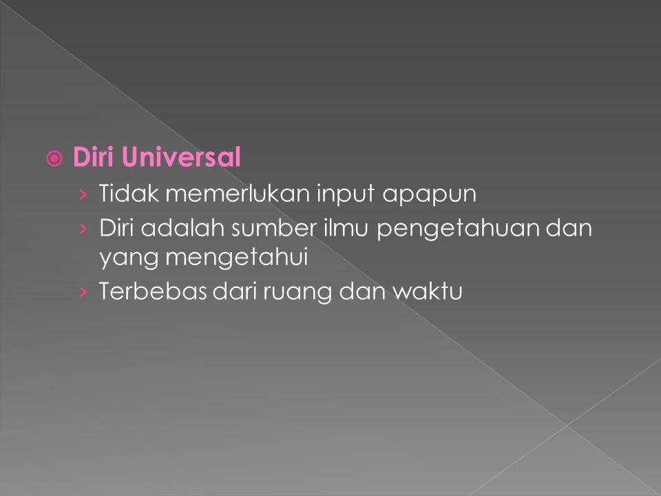  Diri Universal › Tidak memerlukan input apapun › Diri adalah sumber ilmu pengetahuan dan yang mengetahui › Terbebas dari ruang dan waktu