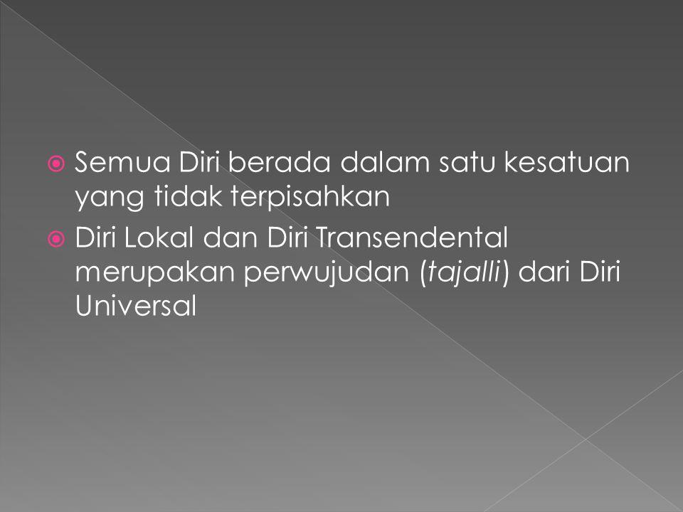  Semua Diri berada dalam satu kesatuan yang tidak terpisahkan  Diri Lokal dan Diri Transendental merupakan perwujudan (tajalli) dari Diri Universal