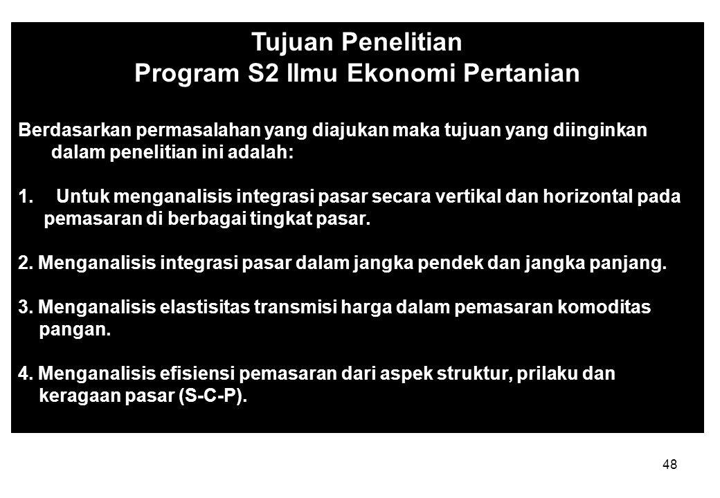 47 Tujuan Penelitian Program S2 Ilmu Ekonomi Pertanian PPSUB Penelitian ini bertujuan untuk menganalisis : (1)hubungan partisipasi masyarakat dengan k