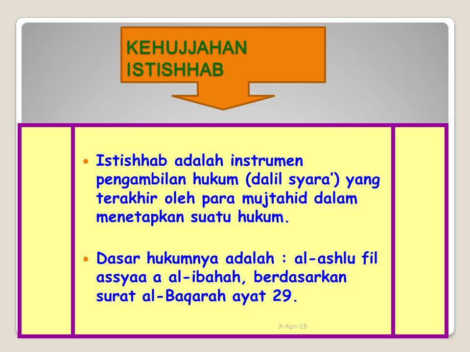 KEHUJJAHAN ISTISHHAB Istishhab adalah instrumen pengambilan hukum (dalil syara') yang terakhir oleh para mujtahid dalam menetapkan suatu hukum. Dasar