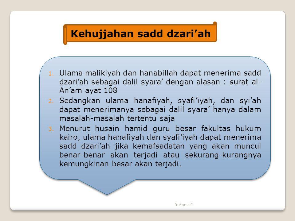 1. Ulama malikiyah dan hanabillah dapat menerima sadd dzari'ah sebagai dalil syara' dengan alasan : surat al- An'am ayat 108 2. Sedangkan ulama hanafi