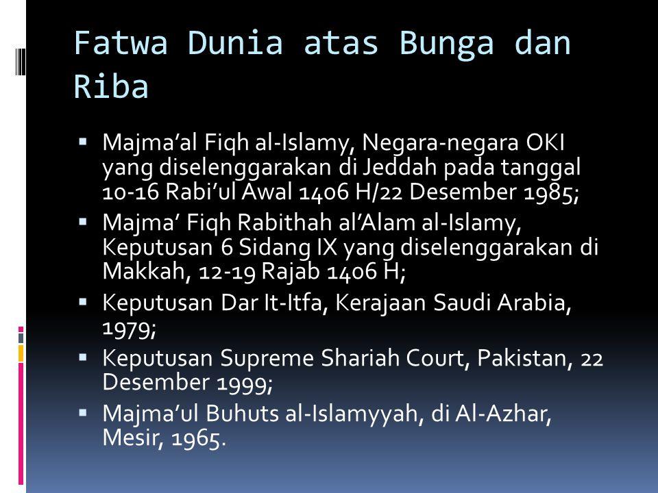 Fatwa Dunia atas Bunga dan Riba  Majma'al Fiqh al-Islamy, Negara-negara OKI yang diselenggarakan di Jeddah pada tanggal 10-16 Rabi'ul Awal 1406 H/22
