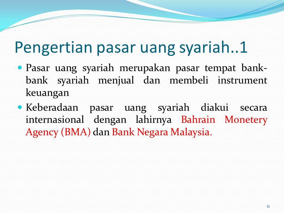 Pengertian pasar uang syariah..1 Pasar uang syariah merupakan pasar tempat bank- bank syariah menjual dan membeli instrument keuangan Keberadaan pasar