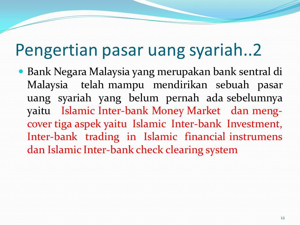 Pengertian pasar uang syariah..2 Bank Negara Malaysia yang merupakan bank sentral di Malaysia telah mampu mendirikan sebuah pasar uang syariah yang be