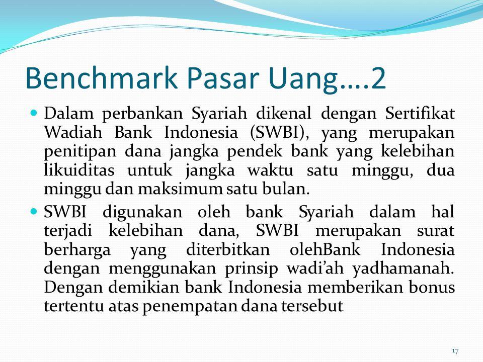 Benchmark Pasar Uang….2 Dalam perbankan Syariah dikenal dengan Sertifikat Wadiah Bank Indonesia (SWBI), yang merupakan penitipan dana jangka pendek ba