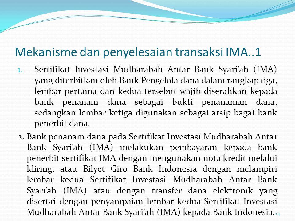 Mekanisme dan penyelesaian transaksi IMA..1 1. Sertifikat Investasi Mudharabah Antar Bank Syari'ah (IMA) yang diterbitkan oleh Bank Pengelola dana dal