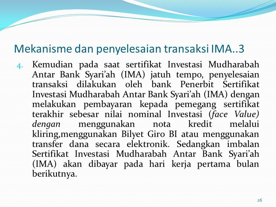 Mekanisme dan penyelesaian transaksi IMA..3 4. Kemudian pada saat sertifikat Investasi Mudharabah Antar Bank Syari'ah (IMA) jatuh tempo, penyelesaian