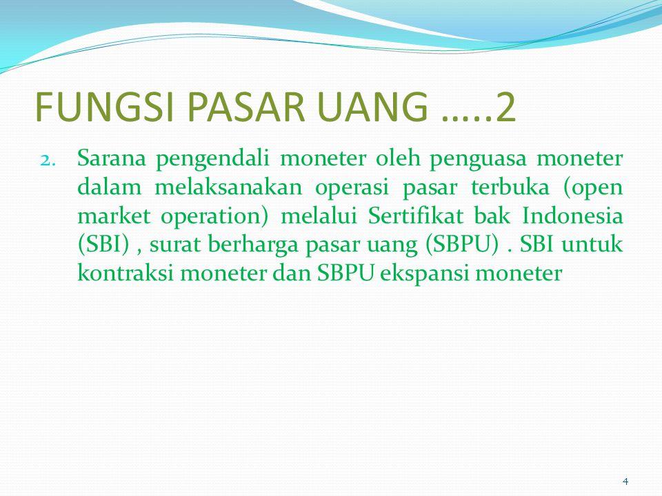 FUNGSI PASAR UANG …..2 2. Sarana pengendali moneter oleh penguasa moneter dalam melaksanakan operasi pasar terbuka (open market operation) melalui Ser