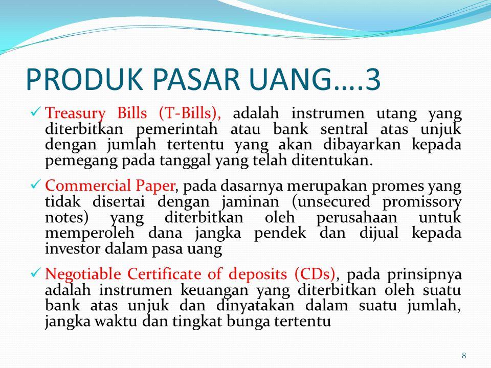 PRODUK PASAR UANG….3 Treasury Bills (T-Bills), adalah instrumen utang yang diterbitkan pemerintah atau bank sentral atas unjuk dengan jumlah tertentu