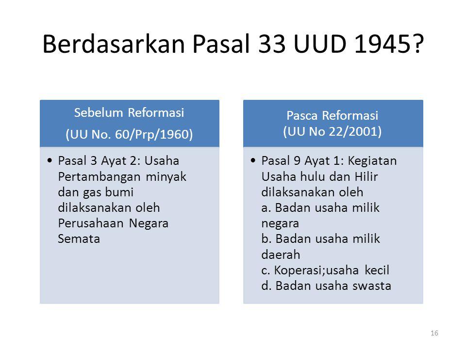 Berdasarkan Pasal 33 UUD 1945? Sebelum Reformasi (UU No. 60/Prp/1960) Pasal 3 Ayat 2: Usaha Pertambangan minyak dan gas bumi dilaksanakan oleh Perusah