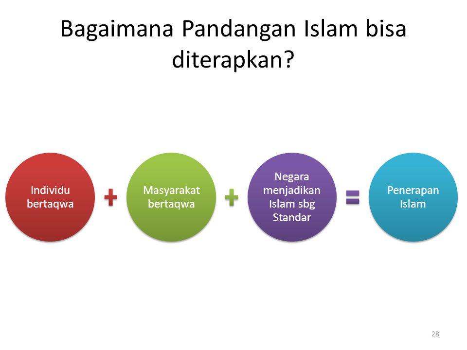 Bagaimana Pandangan Islam bisa diterapkan? Individu bertaqwa Masyarakat bertaqwa Negara menjadikan Islam sbg Standar Penerapan Islam 28