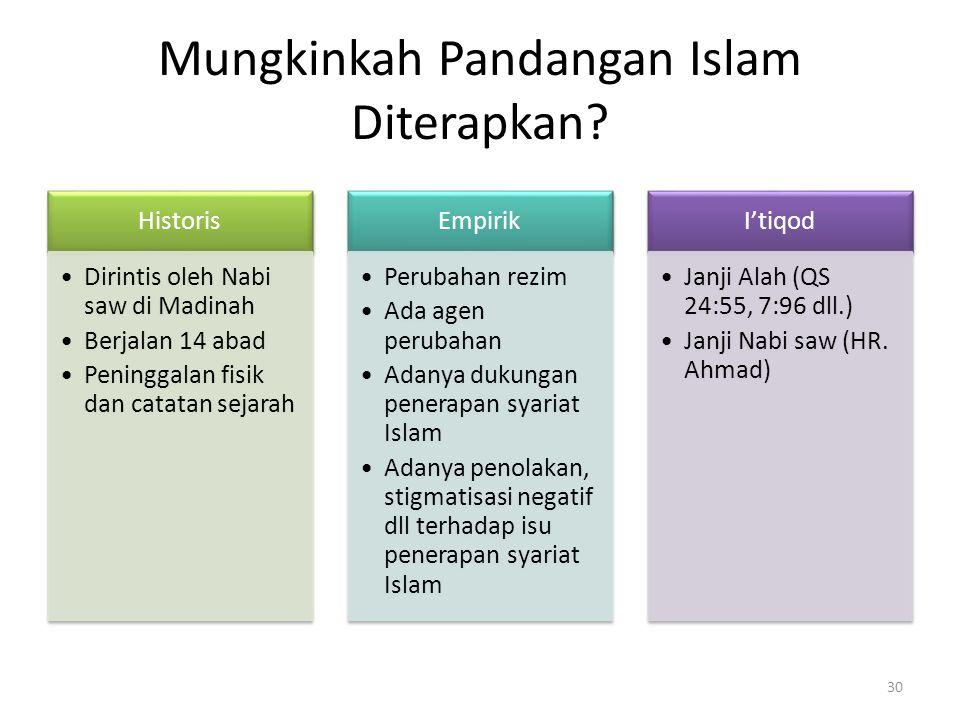 Mungkinkah Pandangan Islam Diterapkan? Historis Dirintis oleh Nabi saw di Madinah Berjalan 14 abad Peninggalan fisik dan catatan sejarah Empirik Perub