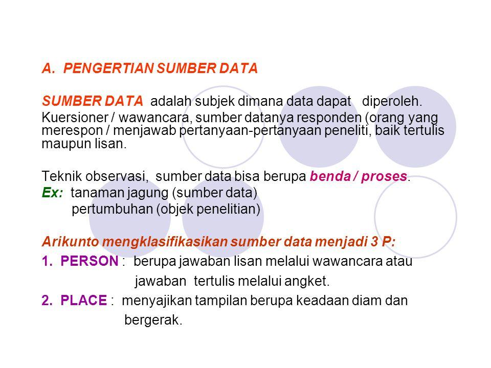 A. PENGERTIAN SUMBER DATA SUMBER DATA adalah subjek dimana data dapat diperoleh. Kuersioner / wawancara, sumber datanya responden (orang yang merespon