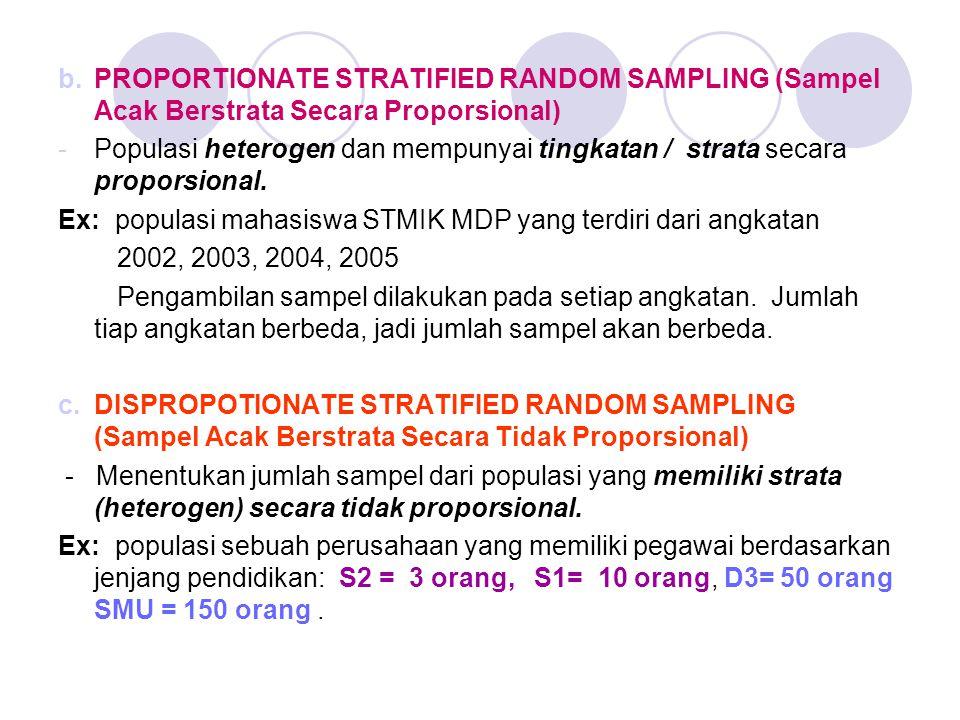 b.PROPORTIONATE STRATIFIED RANDOM SAMPLING (Sampel Acak Berstrata Secara Proporsional) -Populasi heterogen dan mempunyai tingkatan / strata secara pro