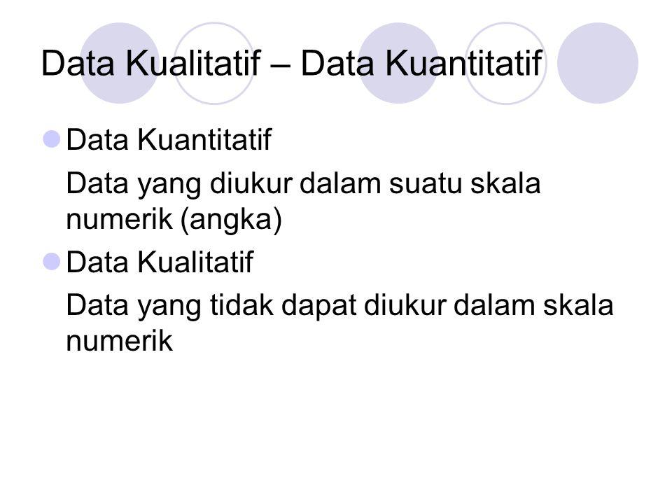 Data Kualitatif – Data Kuantitatif Data Kuantitatif Data yang diukur dalam suatu skala numerik (angka) Data Kualitatif Data yang tidak dapat diukur da
