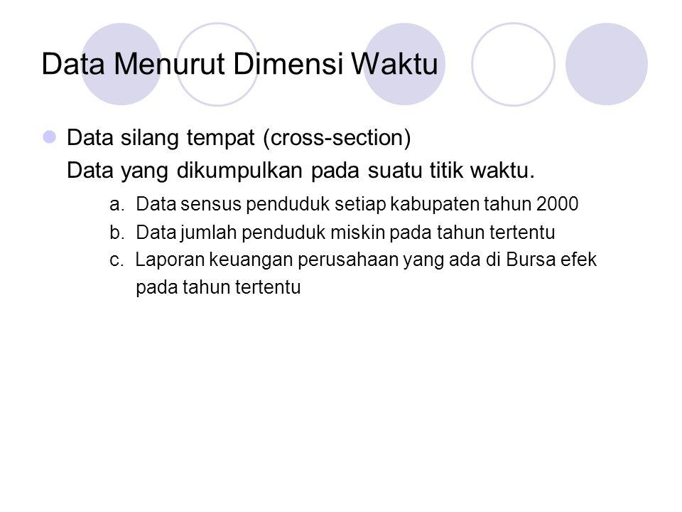 Data Menurut Dimensi Waktu Data silang tempat (cross-section) Data yang dikumpulkan pada suatu titik waktu. a. Data sensus penduduk setiap kabupaten t