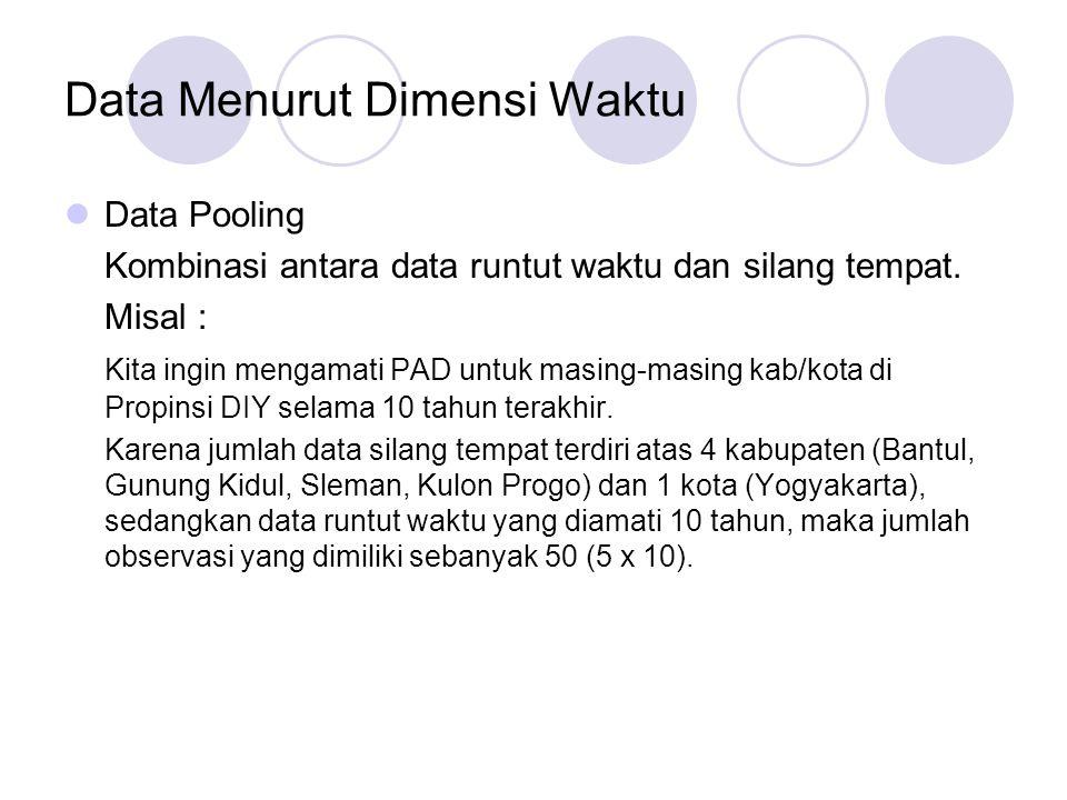 Data Menurut Dimensi Waktu Data Pooling Kombinasi antara data runtut waktu dan silang tempat. Misal : Kita ingin mengamati PAD untuk masing-masing kab