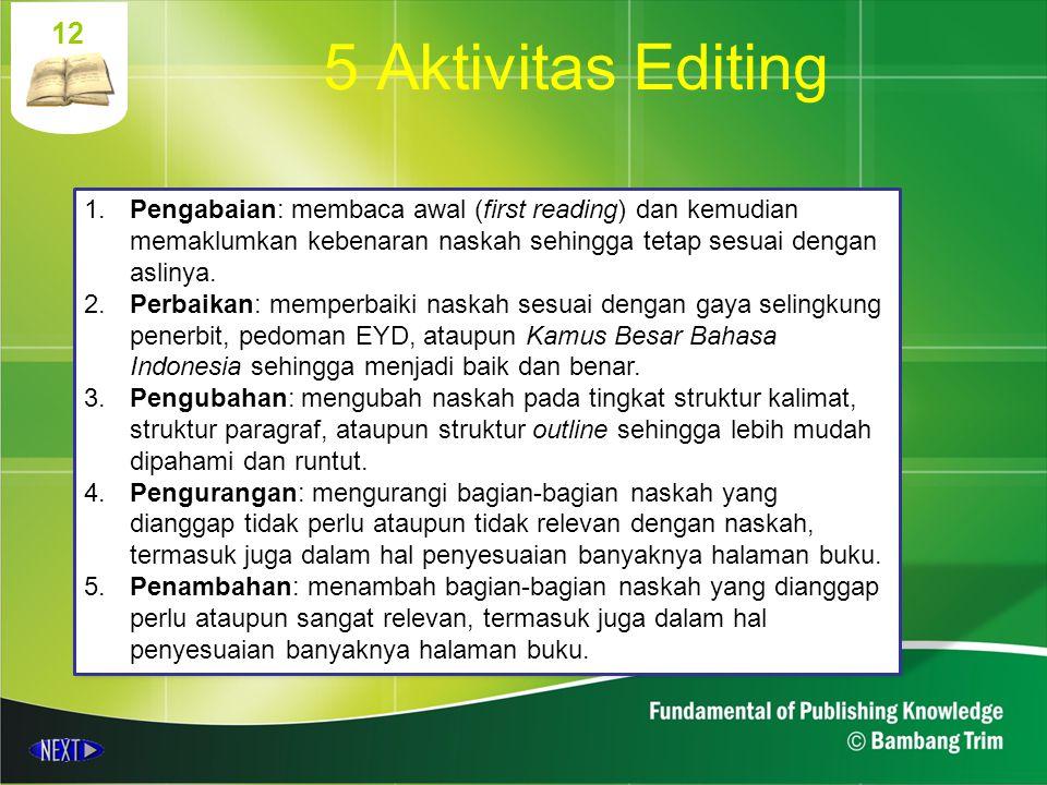 12 1.Pengabaian: membaca awal (first reading) dan kemudian memaklumkan kebenaran naskah sehingga tetap sesuai dengan aslinya. 2.Perbaikan: memperbaiki