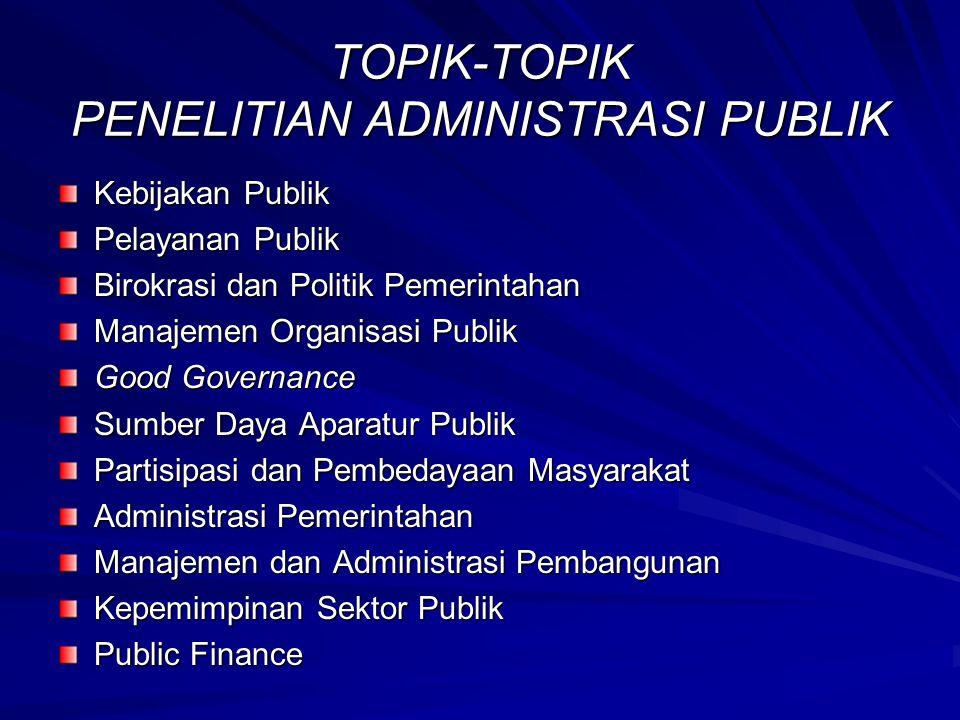 TOPIK-TOPIK PENELITIAN ADMINISTRASI PUBLIK Kebijakan Publik Pelayanan Publik Birokrasi dan Politik Pemerintahan Manajemen Organisasi Publik Good Gover