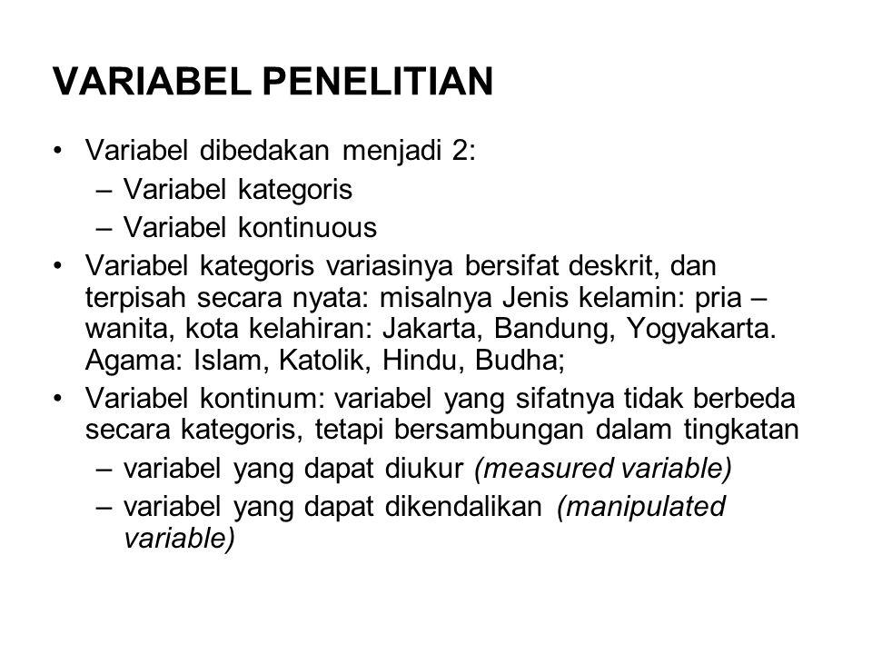 VARIABEL PENELITIAN Variabel dibedakan menjadi 2: –Variabel kategoris –Variabel kontinuous Variabel kategoris variasinya bersifat deskrit, dan terpisa