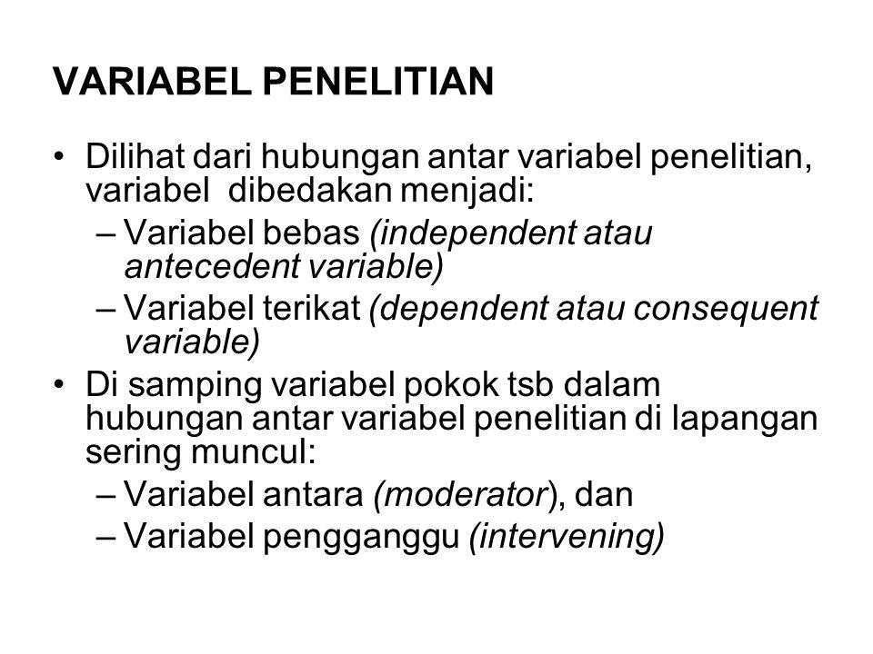 VARIABEL PENELITIAN Dilihat dari hubungan antar variabel penelitian, variabel dibedakan menjadi: –Variabel bebas (independent atau antecedent variable