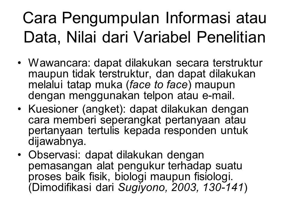 Cara Pengumpulan Informasi atau Data, Nilai dari Variabel Penelitian Wawancara: dapat dilakukan secara terstruktur maupun tidak terstruktur, dan dapat