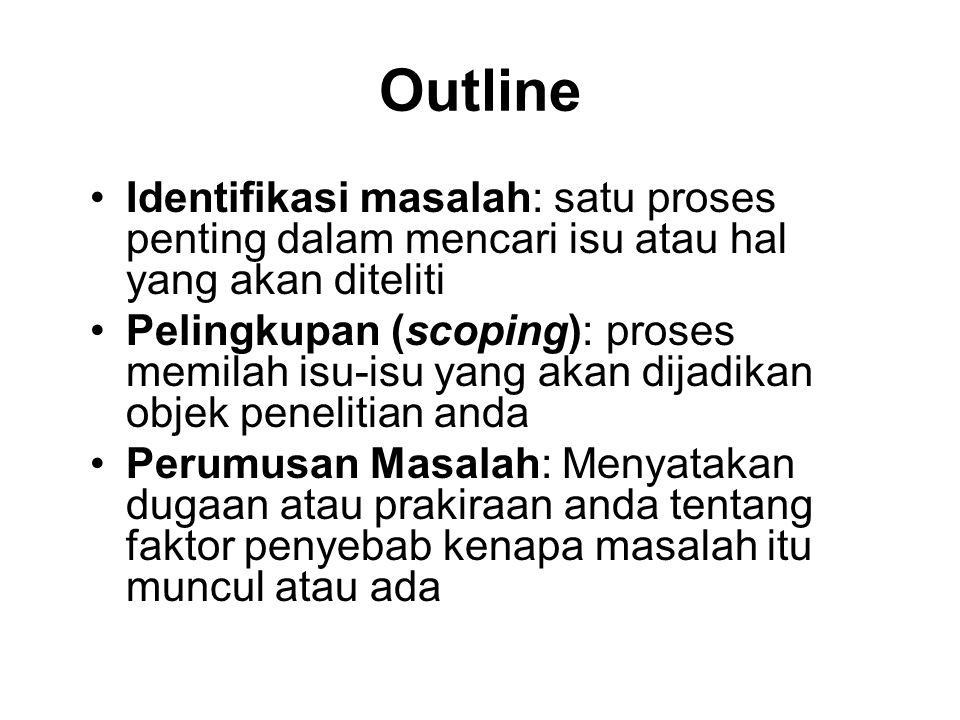 Outline Identifikasi masalah: satu proses penting dalam mencari isu atau hal yang akan diteliti Pelingkupan (scoping): proses memilah isu-isu yang aka