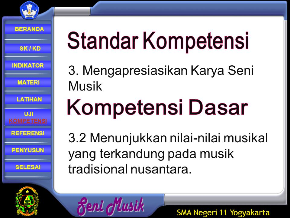 SMA Negeri 11 Yogyakarta REFERENSI LATIHAN MATERI PENYUSUN INDIKATOR SK / KD UJI KOMPETENSI BERANDA SELESAI Mendeskripsikan keunikan/karakteristik karya musik karawitan.
