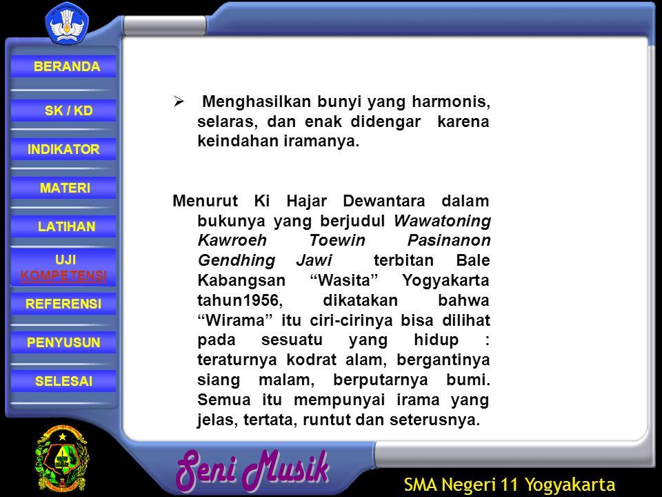 SMA Negeri 11 Yogyakarta REFERENSI LATIHAN MATERI PENYUSUN INDIKATOR SK / KD UJI KOMPETENSI BERANDA SELESAI  Mempunyai wirama (jiwanya gendhing) dan swara (suara) yang merupakan badannya gendhing