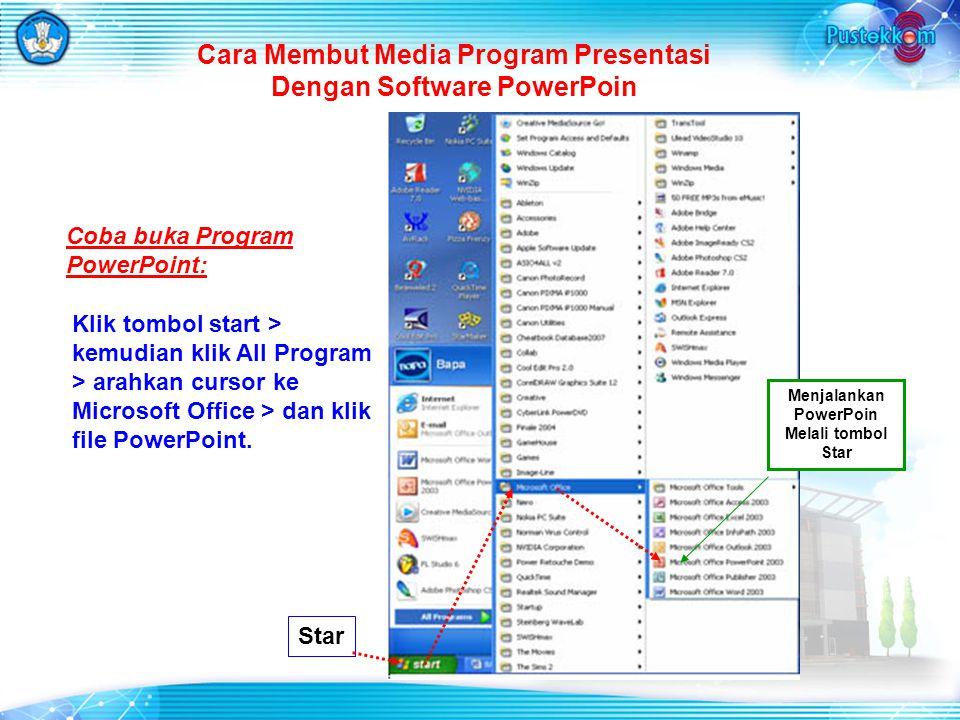 Cara Membut Media Program Presentasi Dengan Software PowerPoin Star Menjalankan PowerPoin Melali tombol Star Klik tombol start > kemudian klik All Program > arahkan cursor ke Microsoft Office > dan klik file PowerPoint.
