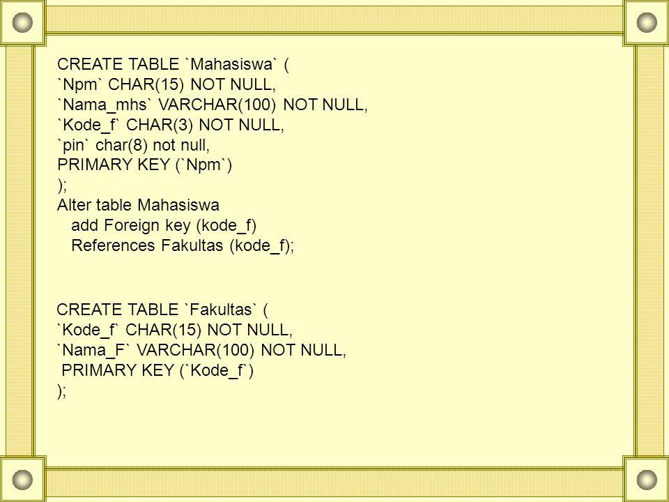 CREATE TABLE `Mahasiswa` ( `Npm` CHAR(15) NOT NULL, `Nama_mhs` VARCHAR(100) NOT NULL, `Kode_f` CHAR(3) NOT NULL, `pin` char(8) not null, PRIMARY KEY (