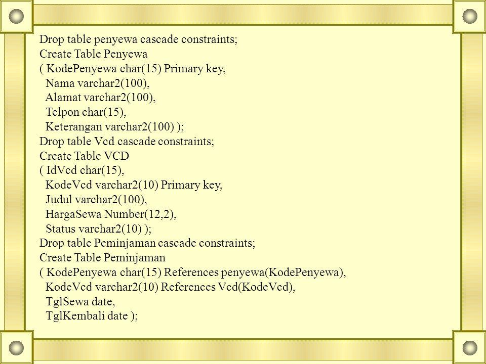 Drop table penyewa cascade constraints; Create Table Penyewa ( KodePenyewa char(15) Primary key, Nama varchar2(100), Alamat varchar2(100), Telpon char(15), Keterangan varchar2(100) ); Drop table Vcd cascade constraints; Create Table VCD ( IdVcd char(15), KodeVcd varchar2(10) Primary key, Judul varchar2(100), HargaSewa Number(12,2), Status varchar2(10) ); Drop table Peminjaman cascade constraints; Create Table Peminjaman ( KodePenyewa char(15) References penyewa(KodePenyewa), KodeVcd varchar2(10) References Vcd(KodeVcd), TglSewa date, TglKembali date );