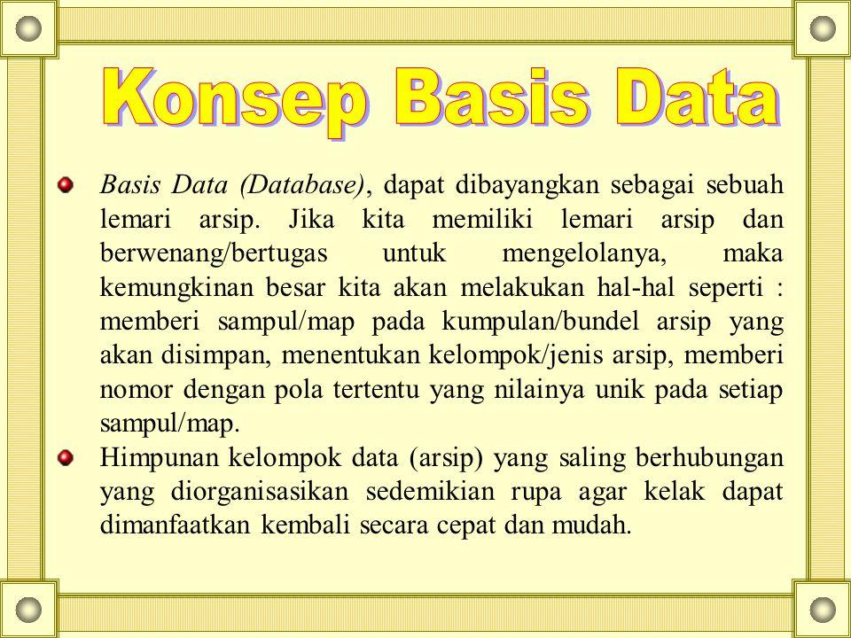 Basis Data (Database), dapat dibayangkan sebagai sebuah lemari arsip. Jika kita memiliki lemari arsip dan berwenang/bertugas untuk mengelolanya, maka