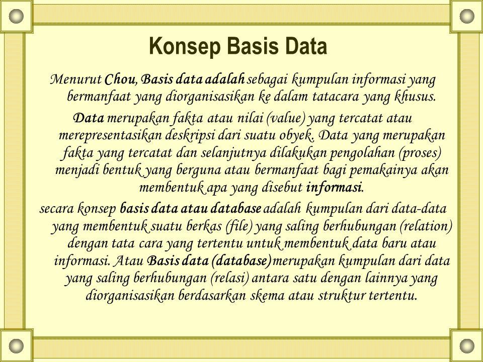 Konsep Basis Data Menurut Chou, Basis data adalah sebagai kumpulan informasi yang bermanfaat yang diorganisasikan ke dalam tatacara yang khusus. Data