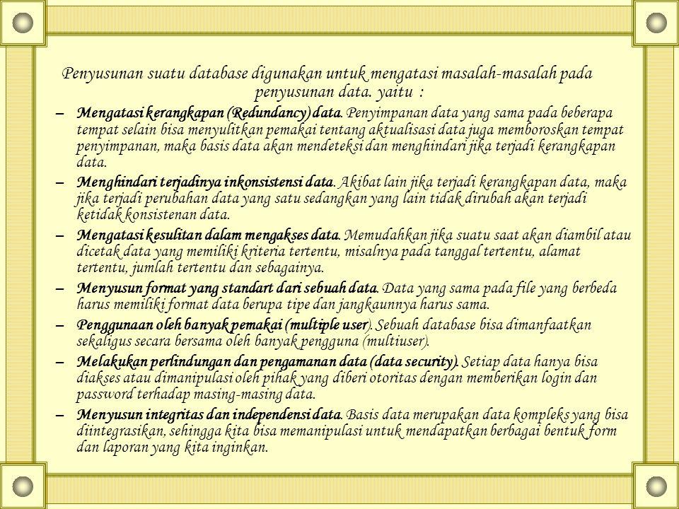 Penyusunan suatu database digunakan untuk mengatasi masalah-masalah pada penyusunan data. yaitu : –Mengatasi kerangkapan (Redundancy) data. Penyimpana