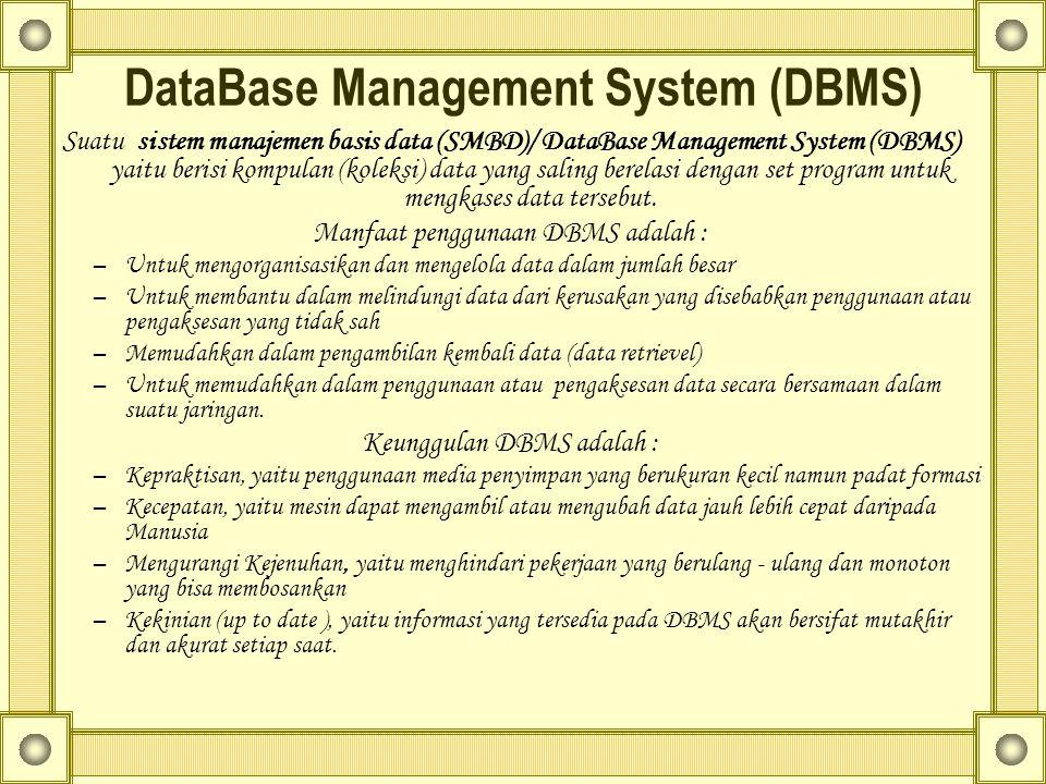 DataBase Management System (DBMS) Suatu sistem manajemen basis data (SMBD)/ DataBase Management System (DBMS) yaitu berisi kompulan (koleksi) data yang saling berelasi dengan set program untuk mengkases data tersebut.