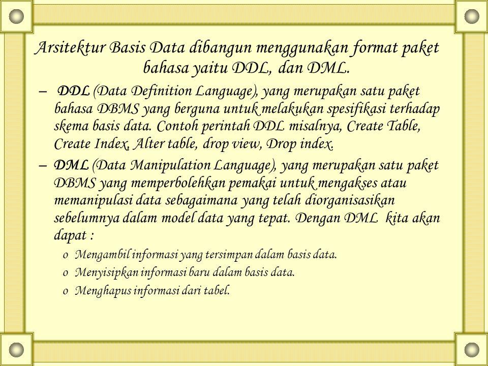Arsitektur Basis Data dibangun menggunakan format paket bahasa yaitu DDL, dan DML. – DDL (Data Definition Language), yang merupakan satu paket bahasa