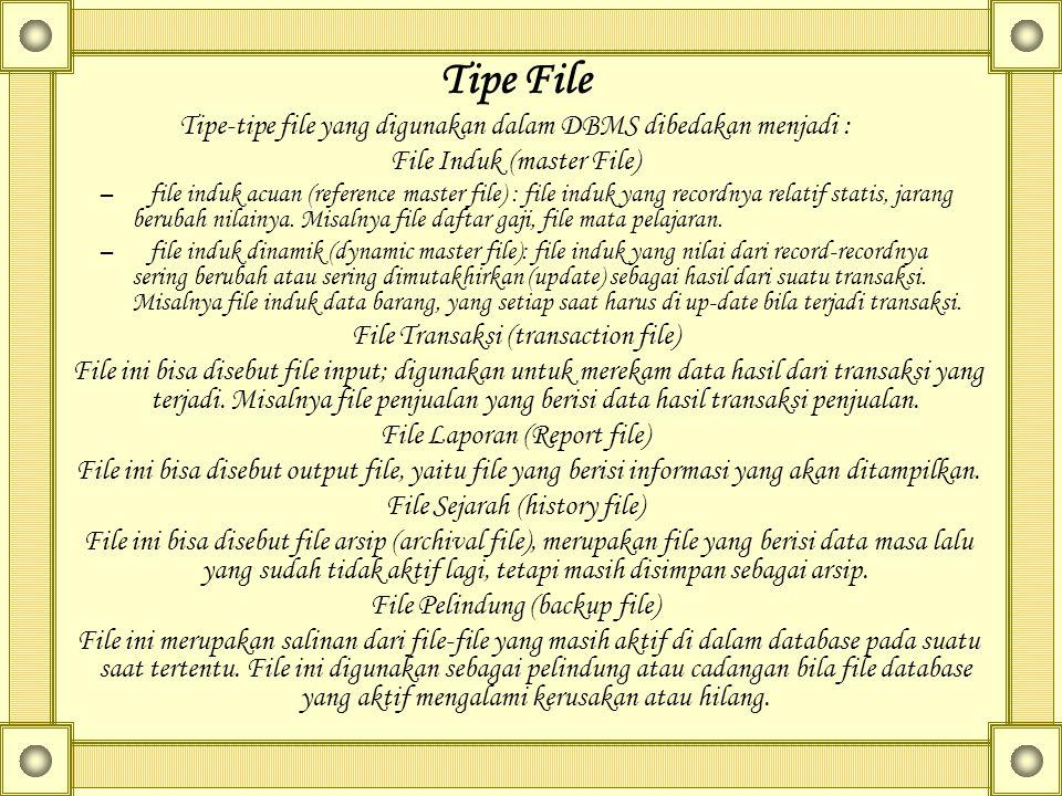 Tipe File Tipe-tipe file yang digunakan dalam DBMS dibedakan menjadi : File Induk (master File) – file induk acuan (reference master file) : file induk yang recordnya relatif statis, jarang berubah nilainya.