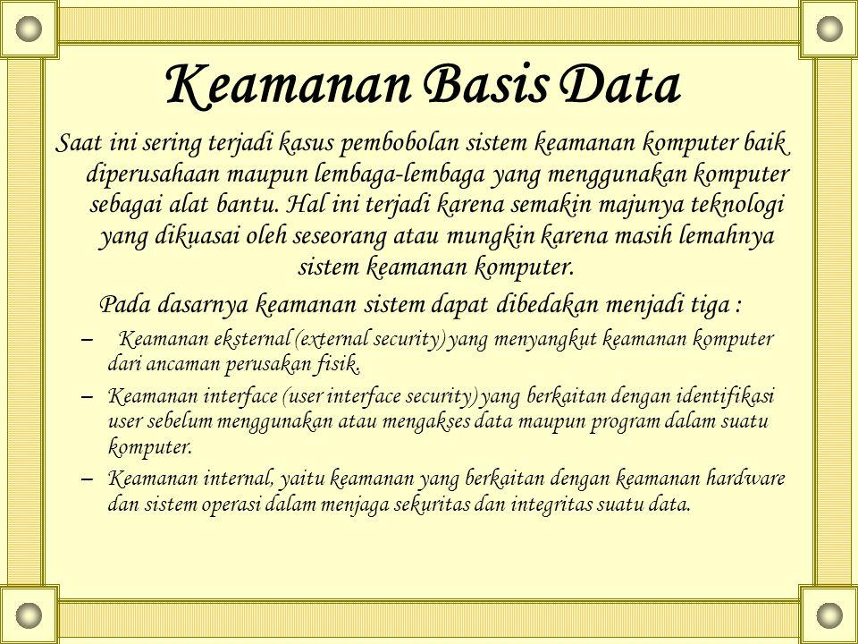 Keamanan Basis Data Saat ini sering terjadi kasus pembobolan sistem keamanan komputer baik diperusahaan maupun lembaga-lembaga yang menggunakan komputer sebagai alat bantu.