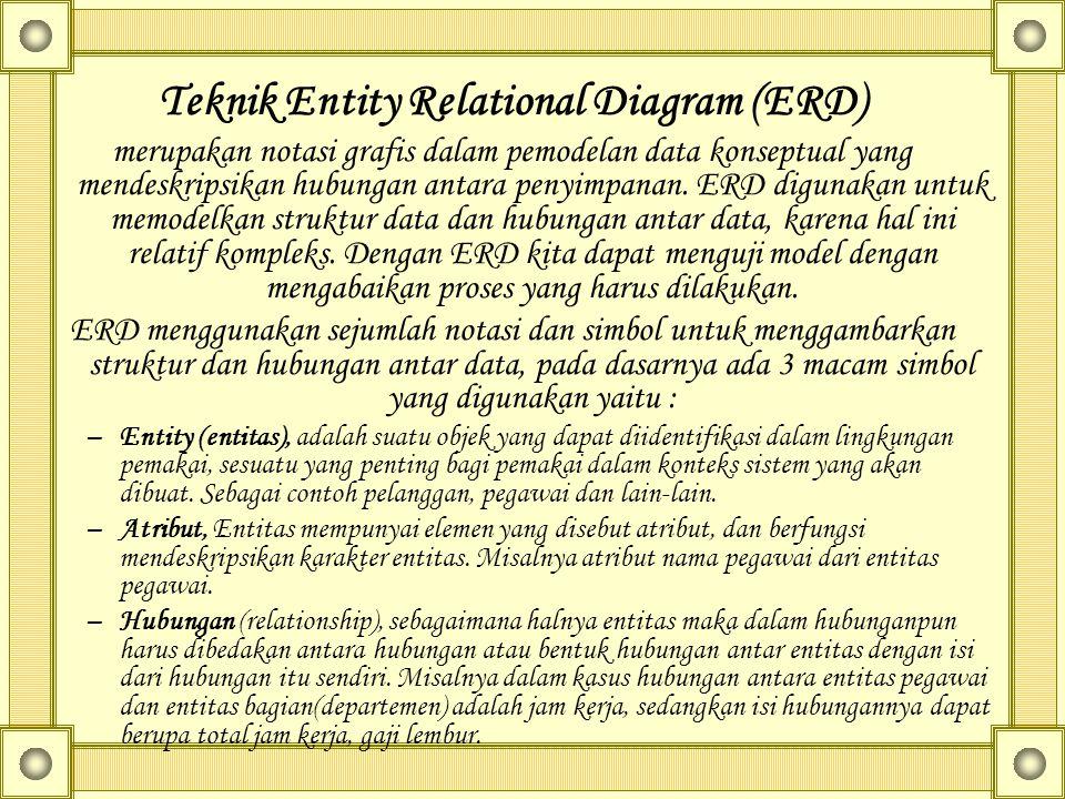 Teknik Entity Relational Diagram (ERD) merupakan notasi grafis dalam pemodelan data konseptual yang mendeskripsikan hubungan antara penyimpanan. ERD d