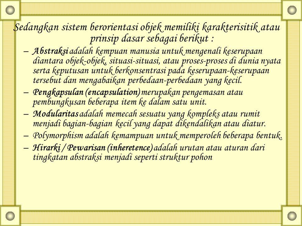 Sedangkan sistem berorientasi objek memiliki karakterisitik atau prinsip dasar sebagai berikut : –Abstraksi adalah kempuan manusia untuk mengenali kes