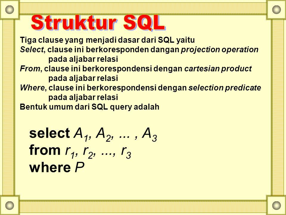 Tiga clause yang menjadi dasar dari SQL yaitu Select, clause ini berkoresponden dangan projection operation pada aljabar relasi From, clause ini berkorespondensi dengan cartesian product pada aljabar relasi Where, clause ini berkorespondensi dengan selection predicate pada aljabar relasi Bentuk umum dari SQL query adalah select A 1, A 2,..., A 3 from r 1, r 2,..., r 3 where P
