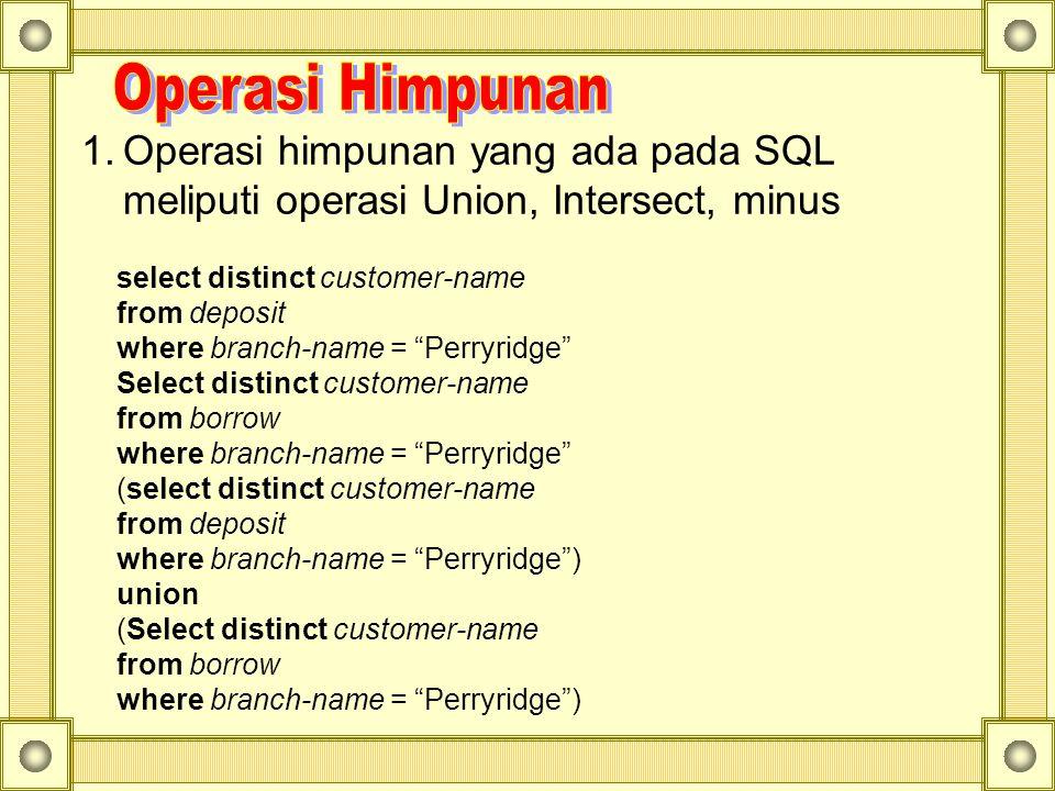"""1.Operasi himpunan yang ada pada SQL meliputi operasi Union, Intersect, minus select distinct customer-name from deposit where branch-name = """"Perryrid"""
