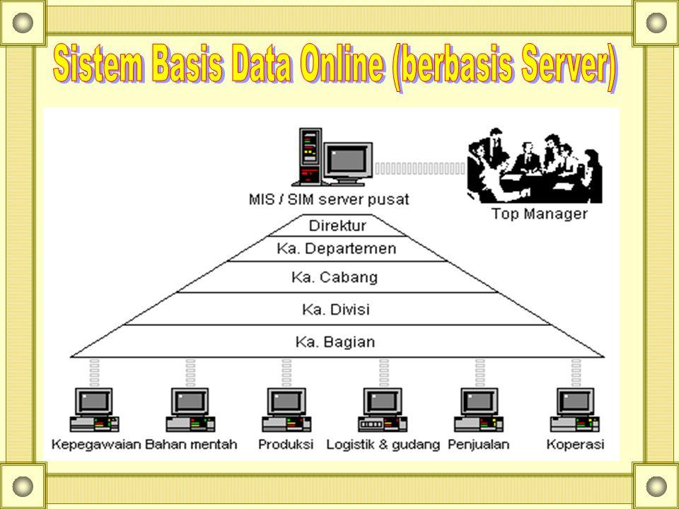 Data dalam basis data bersifat integrated dan shared : : –Terpadu ( integrated ), berkas-berkas data yang ada pada basis data saling terkait (terjadi dependensi data); –Berbagi data ( shared ), data yang sama dapat dipakai oleh sejumlah pengguna dalam waktu yang bersamaan.