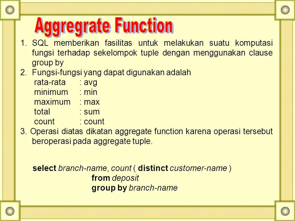 1.SQL memberikan fasilitas untuk melakukan suatu komputasi fungsi terhadap sekelompok tuple dengan menggunakan clause group by 2.Fungsi-fungsi yang da