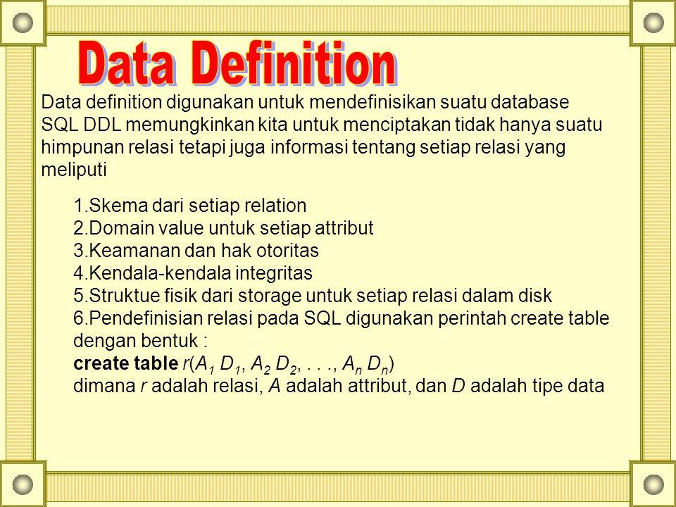 Data definition digunakan untuk mendefinisikan suatu database SQL DDL memungkinkan kita untuk menciptakan tidak hanya suatu himpunan relasi tetapi jug