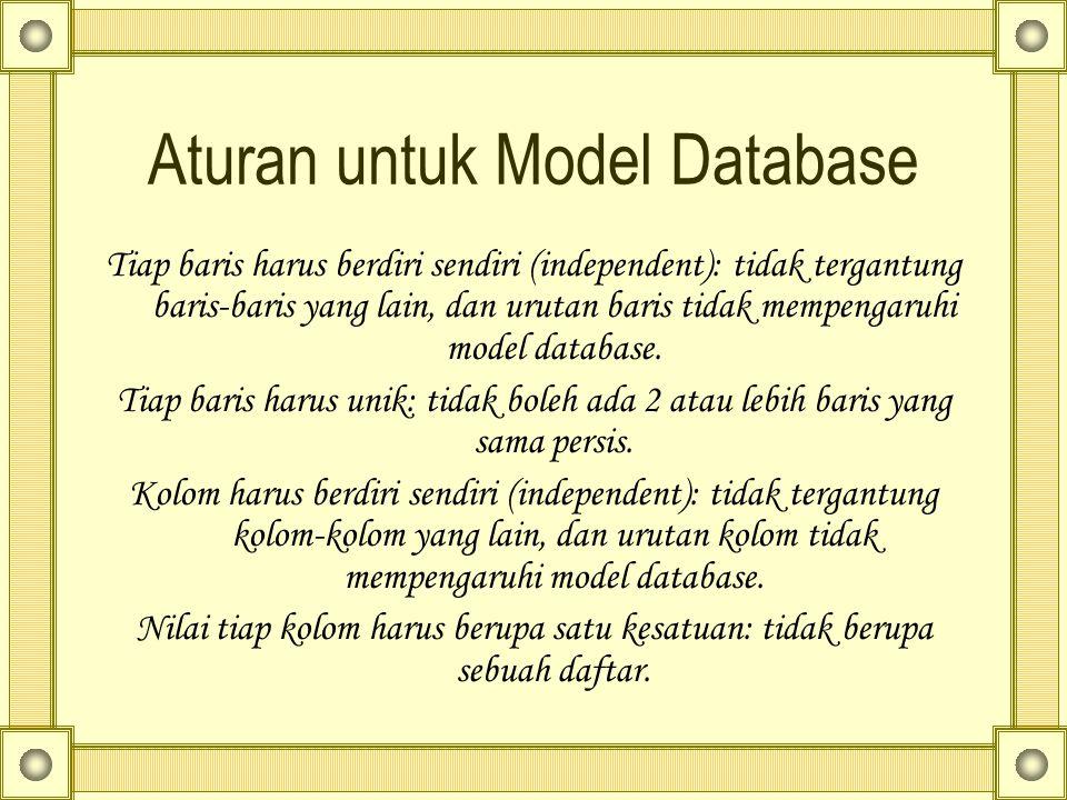 Aturan untuk Model Database Tiap baris harus berdiri sendiri (independent): tidak tergantung baris-baris yang lain, dan urutan baris tidak mempengaruh