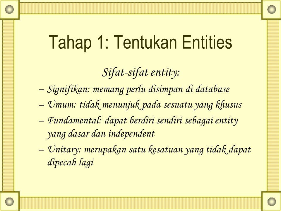 Tahap 1: Tentukan Entities Sifat-sifat entity: –Signifikan: memang perlu disimpan di database –Umum: tidak menunjuk pada sesuatu yang khusus –Fundamen