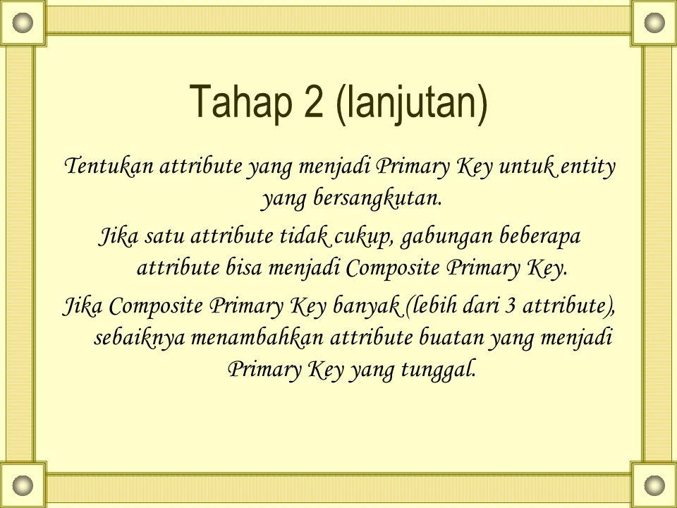 Tahap 2 (lanjutan) Tentukan attribute yang menjadi Primary Key untuk entity yang bersangkutan. Jika satu attribute tidak cukup, gabungan beberapa attr